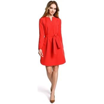 Îmbracaminte Femei Rochii scurte Moe M361 Rochie cu cămașă cu centură legată - roșu