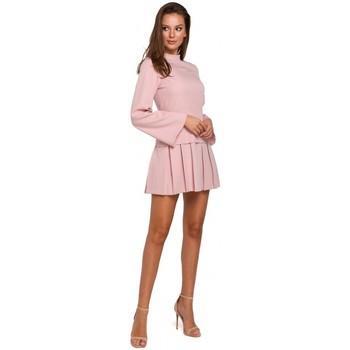 Îmbracaminte Femei Rochii scurte Makover K021 Rochie mini cu tivul de jos plisat - crep roz