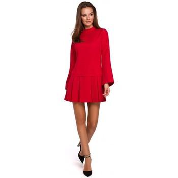 Îmbracaminte Femei Rochii scurte Makover K021 Rochie mini cu tivul de jos plisat - roșu