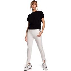 Îmbracaminte Femei Tricouri mânecă scurtă Moe M493 Pantaloni cu picior despicat -ecru
