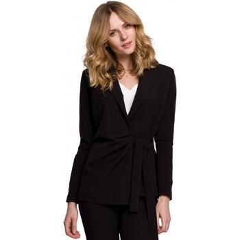 Îmbracaminte Femei Sacouri de costum Makover K056 Blazer cu centură cu cravată - negru