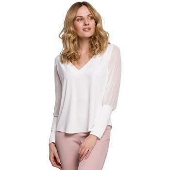 Îmbracaminte Femei Topuri și Bluze Makover K066 Bluză din sifon - ecru