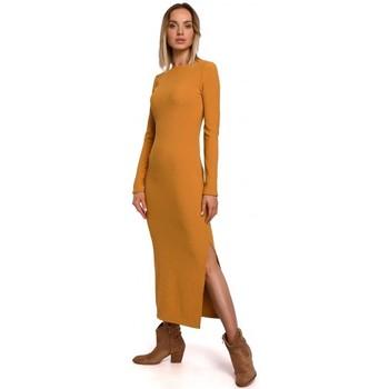 Îmbracaminte Femei Rochii lungi Moe M544 Rochie lungă cu despicătură pe picior - galben închis