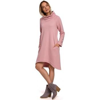 Îmbracaminte Femei Rochii scurte Moe M551 Rochie din tricot cu tiv asimetric - pudră