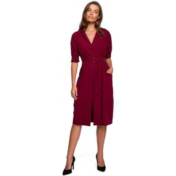 Îmbracaminte Femei Rochii scurte Style S230 Rochie cămașă midi cu buzunare aplicate - maro