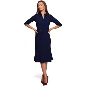 Îmbracaminte Femei Rochii scurte Style S231 Dres cu guler și curea cu cataramă - albastru marin