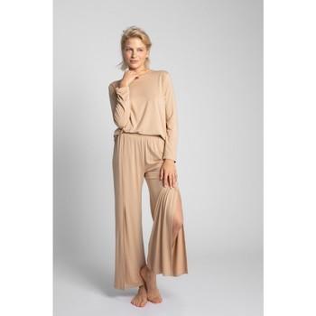 Îmbracaminte Femei Pijamale și Cămăsi de noapte Lalupa LA026 Pantaloni din viscoză cu croială înaltă - cappuccino