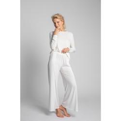 Îmbracaminte Femei Pijamale și Cămăsi de noapte Lalupa LA026 Pantaloni din viscoză cu croială înaltă - ecru