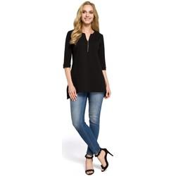 Îmbracaminte Femei Cămăși și Bluze Moe M278 Bluză tunică cu gât cu fermoar - negru