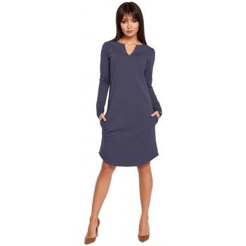 Îmbracaminte Femei Rochii scurte Be B017 Klasyczna sukienka z rozcięciem na dekolcie - niebieska