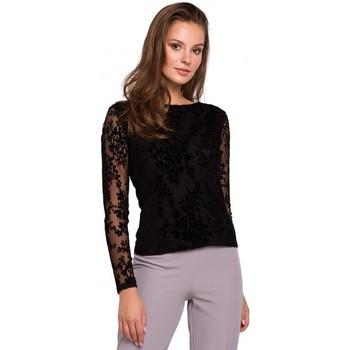 Îmbracaminte Femei Topuri și Bluze Makover K024 Bluză cu dantelă din dantelă Flock - negru