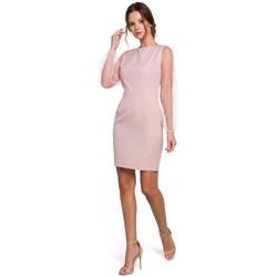 Îmbracaminte Femei Rochii scurte Makover K032 Rochie mini cu mâneci din tulle - crep roz