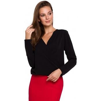 Îmbracaminte Femei Topuri și Bluze Makover K037 Bluză Wrap front - negru