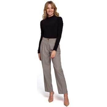Îmbracaminte Femei Chino & Carrot Makover K076 Pantaloni cu imprimeu Gingham - maro