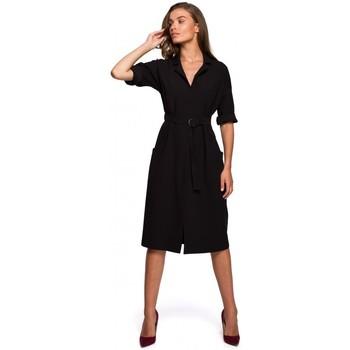 Îmbracaminte Femei Rochii lungi Style S230 Rochie cămașă midi cu buzunare aplicate - negru