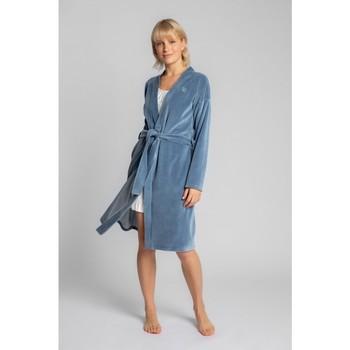 Îmbracaminte Femei Pijamale și Cămăsi de noapte Lalupa LA009 Halat de catifea cu centură cu cravată - albastru