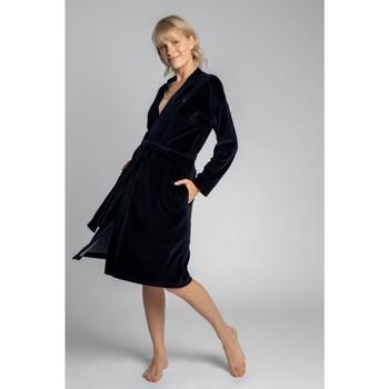 Îmbracaminte Femei Pijamale și Cămăsi de noapte Lalupa LA009 Halat de catifea cu centură cu cravată - albastru marin