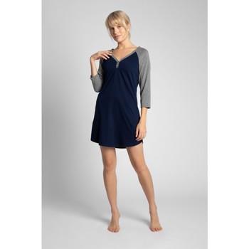 Îmbracaminte Femei Pijamale și Cămăsi de noapte Lalupa LA018 Cămașă de noapte din bumbac cu blocuri de culoare - ecru