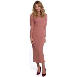 Îmbracaminte Femei Rochii lungi Makover K079 Rochie cu lungime midi și spate despicat - roz