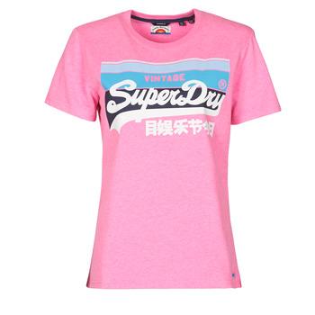 Îmbracaminte Femei Tricouri mânecă scurtă Superdry VL CALI TEE 181 Roz