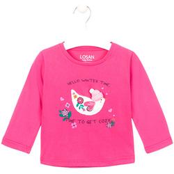 Îmbracaminte Fete Tricouri cu mânecă lungă  Losan 026-1008AL Roz