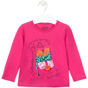 Îmbracaminte Fete Tricouri cu mânecă lungă  Losan 026-1201AL Roz