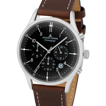 Ceasuri & Bijuterii Bărbați Ceasuri Analogice Jacques Lemans 1-2068M, Quartz, 41mm, 5ATM Argintiu