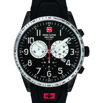 Ceasuri & Bijuterii Bărbați Ceasuri Analogice Swiss Alpine Military 7082.9877, Quartz, 45mm, 10ATM Negru