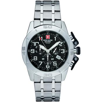 Ceasuri & Bijuterii Bărbați Ceasuri Analogice Swiss Alpine Military 7063.9137, Quartz, 45mm, 10ATM Argintiu