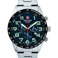 Ceasuri & Bijuterii Bărbați Ceasuri Analogice Swiss Alpine Military 7047.9135, Quartz, 45mm, 10ATM Argintiu