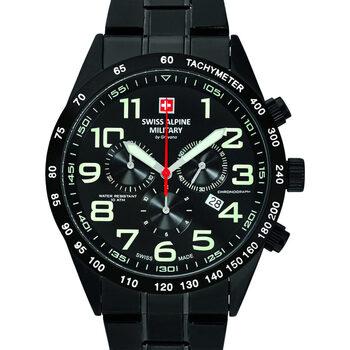 Ceasuri & Bijuterii Bărbați Ceasuri Analogice Swiss Alpine Military 7047.9177, Quartz, 43mm, 10ATM Negru
