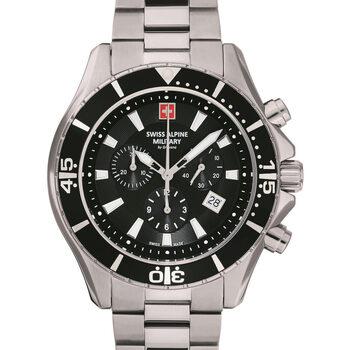 Ceasuri & Bijuterii Bărbați Ceasuri Analogice Swiss Alpine Military 7040.9137, Quartz, 46mm, 10ATM Argintiu