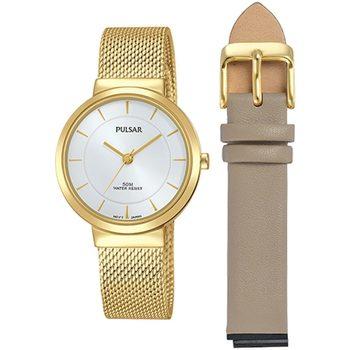 Ceasuri & Bijuterii Femei Ceasuri Analogice Pulsar PH8402X2, Quartz, 30mm, 5ATM Auriu