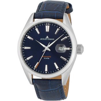 Ceasuri & Bijuterii Bărbați Ceasuri Analogice Jacques Lemans 1-1846.1B, Automatic, 43mm, 10ATM Argintiu