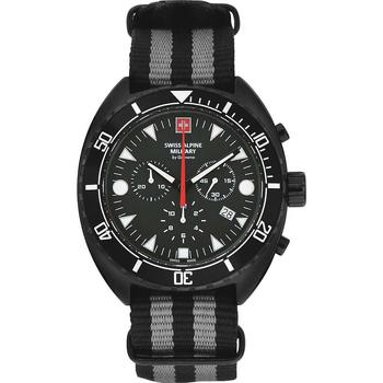 Ceasuri & Bijuterii Bărbați Ceasuri Analogice Swiss Alpine Military 7066.9677, Quartz, 44mm, 10ATM Negru