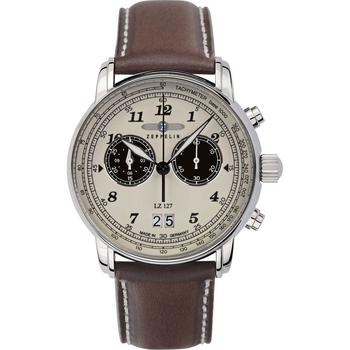 Ceasuri & Bijuterii Bărbați Ceasuri Analogice Zeppelin 8684-5, Quartz, 41mm, 5ATM Argintiu