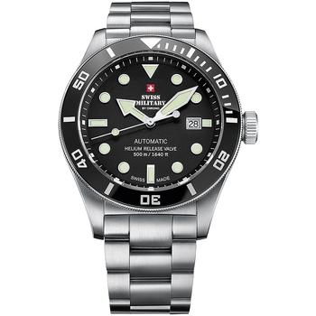 Ceasuri & Bijuterii Bărbați Ceasuri Analogice Swiss Military By Chrono SMA34075.01, Automatic, 44mm, 50ATM Argintiu