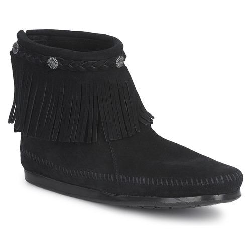 Pantofi Femei Ghete Minnetonka HI TOP BACK ZIP BOOT Negru