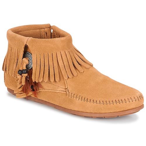 Pantofi Femei Ghete Minnetonka CONCHO FEATHER SIDE ZIP BOOT Camel