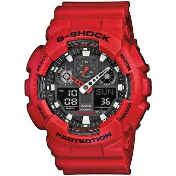 Ceasuri & Bijuterii Bărbați Cesuri Analogic- digital Casio GA-100B-4AER, Quartz, 51mm, 20ATM roșu
