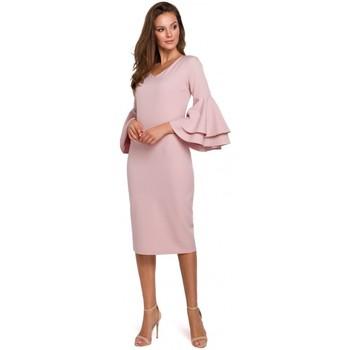 Îmbracaminte Femei Rochii lungi Makover K002 Rochie cu mâneci cu volane - roz crep