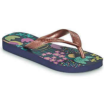 Pantofi Fete  Flip-Flops Havaianas KIDS FLORES Albastru / Auriu