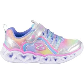 Pantofi Fete Pantofi sport Casual Skechers Heart Lights Rainbow Lux De argint, Albastre, Roz