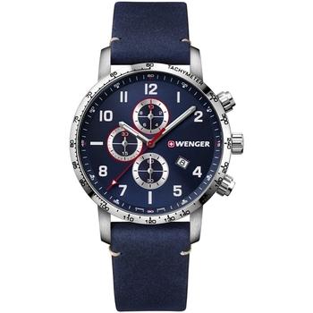 Ceasuri & Bijuterii Bărbați Ceasuri Analogice Wenger 01.1543.109, Quartz, 44mm, 10ATM Argintiu