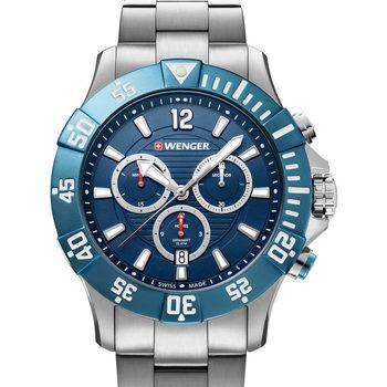 Ceasuri & Bijuterii Bărbați Ceasuri Analogice Wenger 01.0643.119, Quartz, 43mm, 20ATM Argintiu