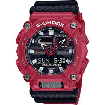 Ceasuri & Bijuterii Bărbați Cesuri Analogic- digital Casio GA-900-4AER, Quartz, 49mm, 20ATM roșu