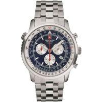 Ceasuri & Bijuterii Bărbați Ceasuri Analogice Swiss Alpine Military 7078.9135, Quartz, 46mm, 10ATM Argintiu