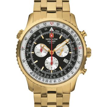 Ceasuri & Bijuterii Bărbați Ceasuri Analogice Swiss Alpine Military 7078.9117, Quartz, 46mm, 10ATM Auriu