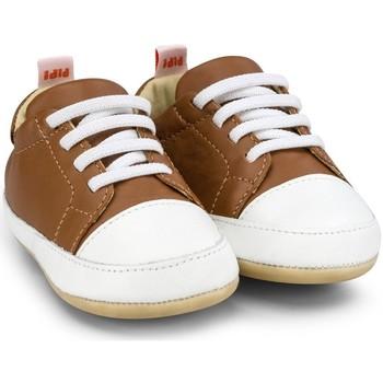 Pantofi Băieți Pantofi sport Casual Bibi Shoes Pantofi Baietei Bibi Afeto Joy Caramel/Alb cu Siret Elastic Maro