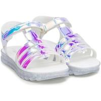 Pantofi Fete Sandale  Bibi Shoes Sandale Fete BIBI Flat Form Holografic Glitter Alb